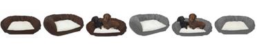 Precious Tails Vegan Leather Curved Orthopedic Memory Foam Sofa Pet Bed - Medium
