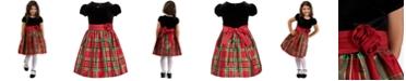 Bonnie Jean Toddler Girls Velvet & Plaid Dress