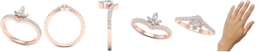 Macy's Diamond Marquise Cluster Chevron Statement Ring (1/2 ct. t.w.) in 14k Rose Gold