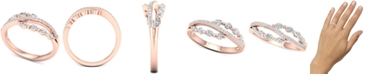 Macy's Diamond Split Shank Statement Ring (1/2 ct. t.w.) in 14k Rose Gold