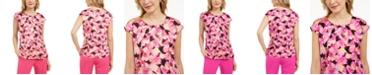 Kasper Petite Floral-Print Cap-Sleeve Keyhole Woven Top