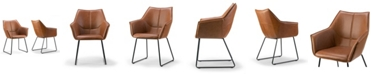 Glamour Home Set of 2 Amna Arm Chair with Metal Legs