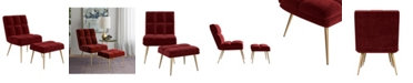Handy Living Gregor Modern Tufted Armless Chair and Ottoman Set
