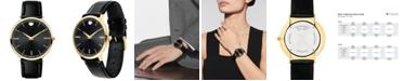 Movado Men's Swiss Ultra Slim Black Leather Strap Watch 40mm 0607087