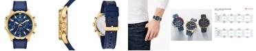 Bulova Men's Chronograph Marine Star Blue Leather & Silicone Strap Watch 43mm