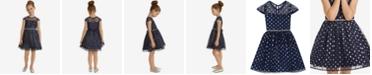 Rare Editions Little Girls Illusion Neck Glitter Dot Dress