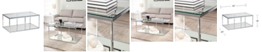 Southern Enterprises Clarkesburg Glass Cocktail Table with Mirrored Shelf
