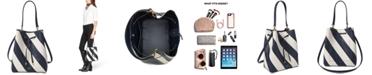 Lauren Ralph Lauren Dryden Debby Leather Diagonal Stripe Drawstring Bag