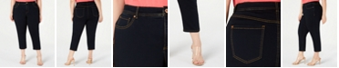 INC International Concepts I.N.C. Plus Size Cropped Tummy-Control Jeans, Created for Macy's