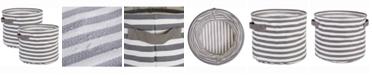 Design Import Herringbone Woven Cotton Laundry Bin Stripe, Round, Set of 2