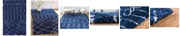 Bridgeport Home Fazil Shag Faz2 Navy Blue 5' x 8' Area Rug