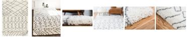 Bridgeport Home Fazil Shag Faz2 Pure Ivory 4' x 6' Area Rug