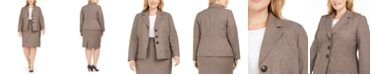 Le Suit Plus Size 3-Button Slim Skirt Suit
