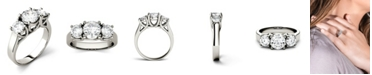 Charles & Colvard Moissanite Three Stone Ring 2 ct. t.w. Diamond Equivalent in 14k White Gold or 14k Yellow Gold