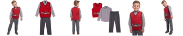 TFW Little Boys 3-Pc. Holiday Train Sweater Vest, Plaid Shirt & Pants Set