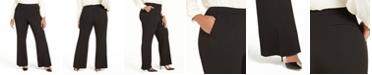 Calvin Klein Plus Size Slit Wide-Leg Pants