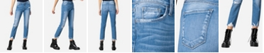 FLYING MONKEY High Rise Destroyed Hem Straight Crop Jeans