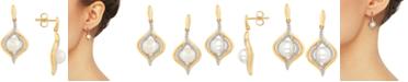 Macy's Cultured Freshwater Pearl (6-1/2mm) & Diamond (1/5 ct. t.w.) Drop Earrings in 14k Gold