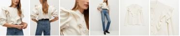 MANGO Women's Ruffled Cotton Shirt