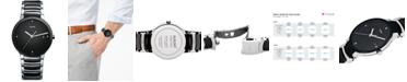 Rado Watch, Men's Swiss Centrix Diamond Accent Stainless Steel and Black Ceramic Bracelet 38mm R30934712