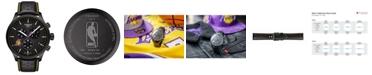 Tissot Men's Swiss Chronograph Chrono XL NBA Los Angeles Lakers Black Leather Strap Watch 45mm