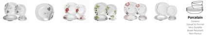 Lorren Home Trends Porcelain 20 Piece Square Dinnerware Set Service for 4