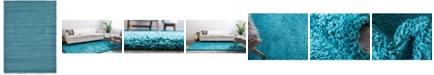 Bridgeport Home Exact Shag Exs1 Deep Aqua Blue 7' x 10' Area Rug