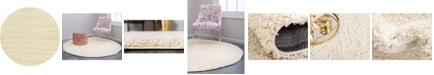 "Bridgeport Home Exact Shag Exs1 Pure Ivory 8' 2"" x 8' 2"" Round Area Rug"