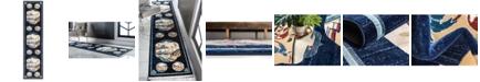"Bridgeport Home Sahil Sah3 Navy Blue 2' 7"" x 10' Runner Area Rug"