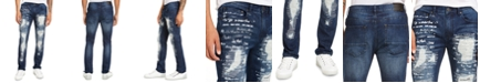 INC International Concepts INC Men's Slim-Fit Ripped Scribble Jeans, Created for Macy's