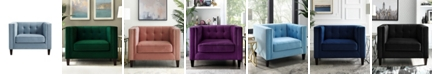 INSPIRED HOME Lotte Velvet Button Tufted Square Club Chair