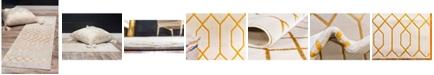 Marilyn Monroe Glam Mmg001 White/Gold 2' x 6' Runner Rug