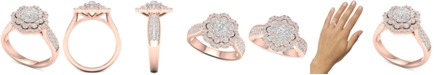Macy's Diamond Flower Halo Cluster Statement Ring (1 ct. t.w.) in 14k Rose Gold