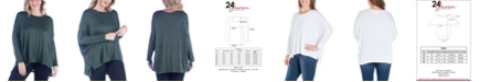 24seven Comfort Apparel Women's Plus Size Oversized Long Sleeves Dolman Top