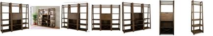Furniture Ridgeway 3-Pc. Bar Wall Set (Bar Cabinet & 2 Leaning Bookcases)