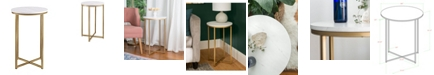 """Walker Edison 16"""" Modern Faux-Marble Side Table with Gold Base"""