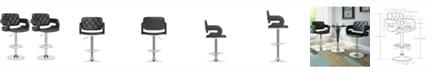 CorLiving Adjustable Tufted Leatherette Barstool with Armrests, Set of 2