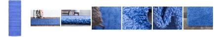 "Bridgeport Home Exact Shag Exs1 Periwinkle Blue 2' 2"" x 6' 5"" Runner Area Rug"