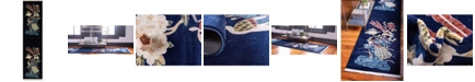 "Bridgeport Home Sahil Sah1 Navy Blue 2' 7"" x 10' Runner Area Rug"