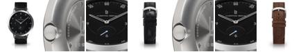 Lilienthal Berlin L1 Standard Black Dial Silver Case Leather Watch 42mm