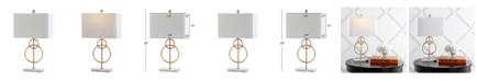 "JONATHAN Y Haines 26"" Modern Circle Marble/Metal LED Table Lamp"