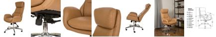 Glitzhome Mid-Century Modern Leatherette Gaslift Adjustable Swivel Office Chair