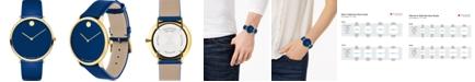 Movado Swiss Modern Blue Leather Strap Watch 40mm