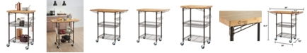 TRINITY Pro Expandable Bamboo Top Bronze Anthracite Kitchen Cart