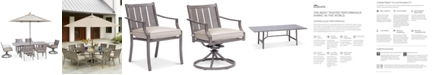 "Furniture Wayland Outdoor Aluminum 7-Pc. Dining Set (84"" x 42"" Rectangle Dining Table, 4 Dining Chairs & 2 Swivel Chairs) with Sunbrella® Cushions, Created for Macy's"