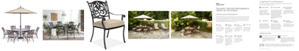 """Furniture Chateau Outdoor Aluminum 7-Pc. Set (60"""" Round Dining Table & 6 Dining Chairs) with Sunbrella® Cushions, Created For Macy's"""
