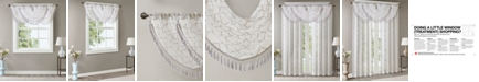 "Madison Park Irina 38"" x 46"" Embroidered Diamond Sheer Waterfall Valance"