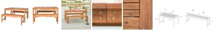 Walker Edison Outdoor Classic Contemporary Acacia Wood Simple Patio 3-Piece Dining Set - Brown
