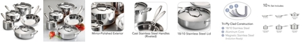 Tramontina Gourmet Tri-Ply Clad 10 Pc Cookware Set