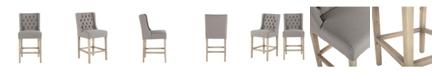 "World Interiors Chloe Linen Counter Chair with Napoleon Legs - 22"" x 20"" x 40"""